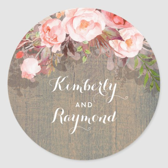 Pink Floral Rustic Barn Wedding Classic Round Sticker