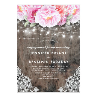 Pink Floral Rustic Wood Lace Engagement Party Card