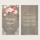 Pink Floral Rustic Wood Lace String Lights Business Card