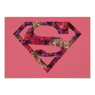 Pink Floral S-Shield 13 Cm X 18 Cm Invitation Card
