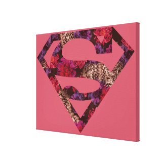 Pink Floral S-Shield Canvas Print
