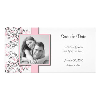 Pink Floral Save the Date Photo Cards