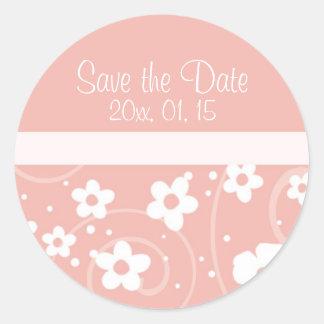 Pink Floral Save the Date Wedding Envelope Seal Round Sticker