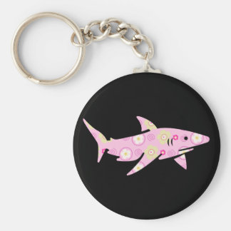 Pink Floral Shark Key Ring
