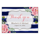 Pink Floral Silver Navy Blue Stripes Thank You Card