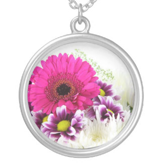pink floral silver plated necklace