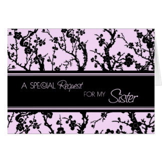 Pink Floral Sister Maid of Honor Invitation Card