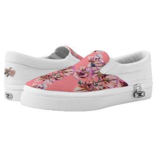 Pink Floral Slip-On Shoes