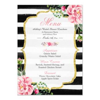 Pink Floral Stripes | Bridal Shower Luncheon Menu 11 Cm X 16 Cm Invitation Card