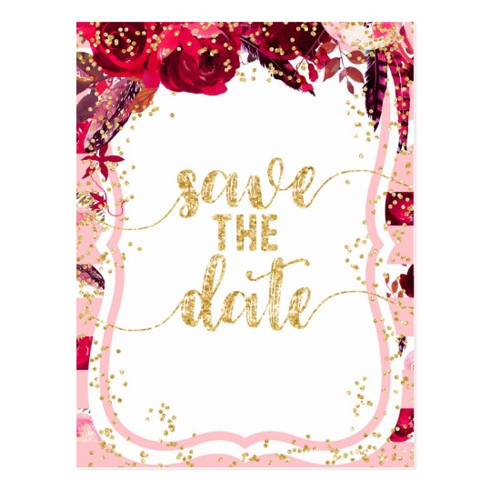 Pink Floral Stripes & Gold Wedding Save the