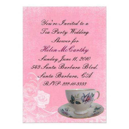 Pink Floral Tea Party Bridal Shower Invitation