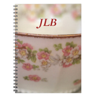 Pink Floral Teacup Personalize Notebook