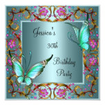 Pink Floral Teal Blue Butterfly 30th Birthday 13 Cm X 13 Cm Square Invitation Card