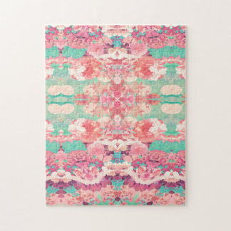 Pink Floral Teal Fashion Kaleidoscope Pattern Jigsaw Puzzle