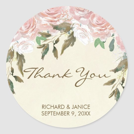 pink floral thank you favours sticker wedding