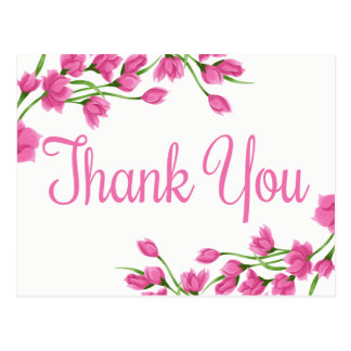 Pink Floral Thank You Lavender Fuchsia Flowers Postcard