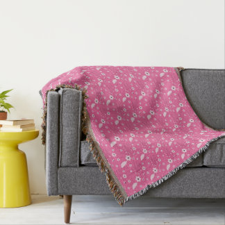 Pink Floral Throw Blanket
