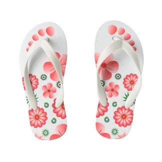Pink Floral Tropical Flowers Toe Marks Flip Flops