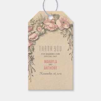 Pink Floral Vintage Wedding Thank You Gift Tags