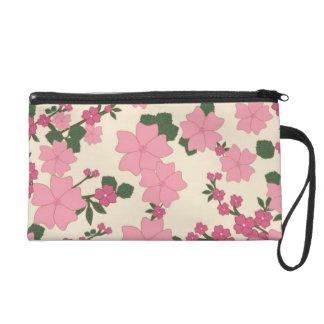 Pink Floral Vintage Wrist Bag