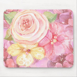 Pink Floral Watercolor Mouse Pad