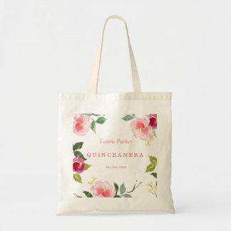 Pink Floral Watercolor Quinceanera Tote Bag