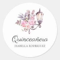 Pink Floral Watercolor Vintage Paris Quinceañera Classic Round Sticker