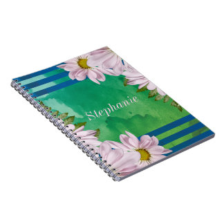 Pink Floral Watercolor Wash Personalized Notebook
