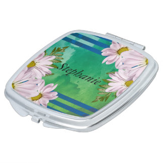 Pink Floral Watercolor Wash Personalized Travel Mirror
