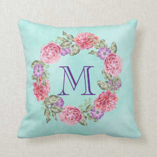 Pink Floral Watercolor Wreath Monogram Initial Cushion