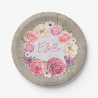 Pink Floral Watercolor Wreath Rustic Wood Wedding Paper Plate