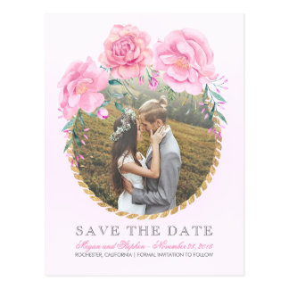 Pink Floral Watercolors Gold Photo Save the Date Postcard