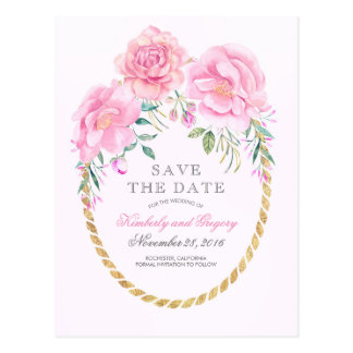 Pink Floral Watercolors Gold Wreath Save the Date Postcard