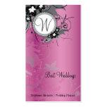 Pink Floral Wedding Elegant Business Card Monogram