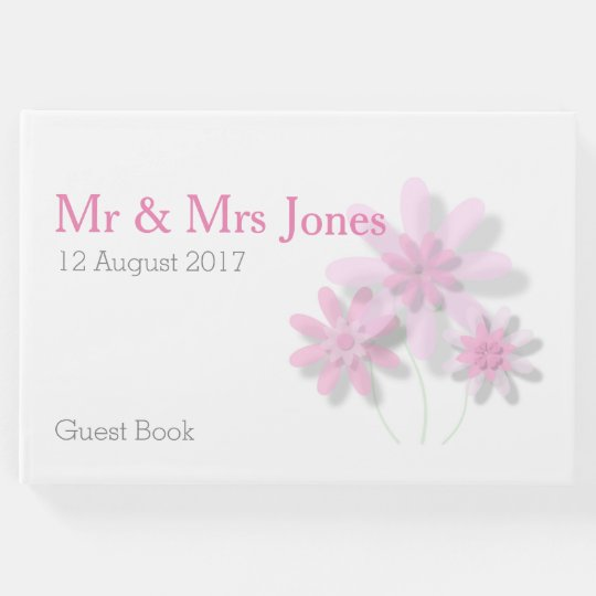 Pink Floral Wedding Guest Book (Customisable)
