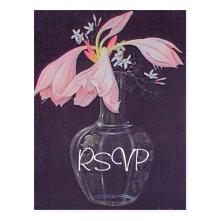 Pink Floral Wedding Invitation RSVP with Photo Postcard