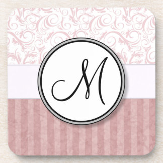 Pink Floral Wisps & Stripes with Monogram Coasters