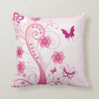 Pink Floral With Butterflies American MoJo Pillows Cushion