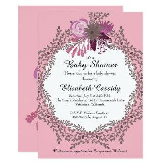Pink Floral Wreath,  Baby Shower Invitation