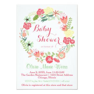 Pink Floral Wreath - Baby Shower Invitation