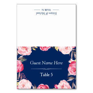 Pink Floral Wreath Classy Navy Blue Wedding Place Table Card