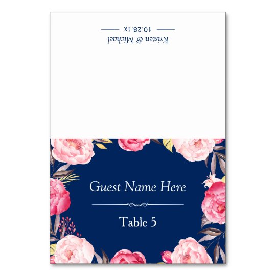 Pink Floral Wreath Classy Navy Blue Wedding Place