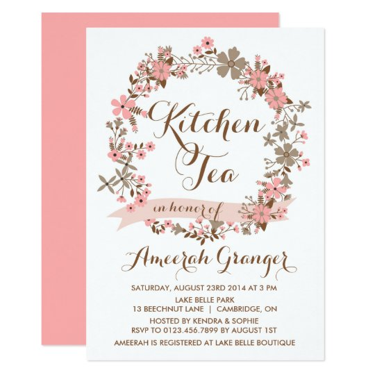 Kitchen Tea Quotes For Cards: Pink Floral Wreath Kitchen Tea Party Invitation