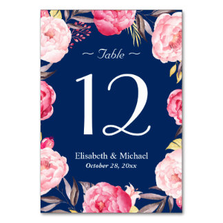 Pink Floral Wreath Navy Blue Wedding Table Number Table Card
