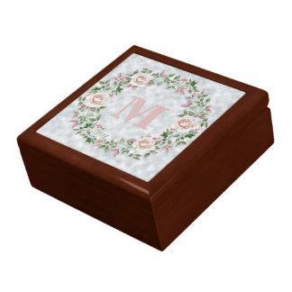 Pink Floral Wreath on Light Blue Monogram Gift Box