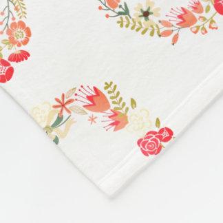 Pink Floral Wreath Pattern Fleece Blanket for Her