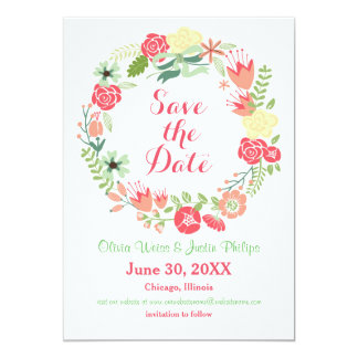 Pink Floral Wreath - Save the Date Card