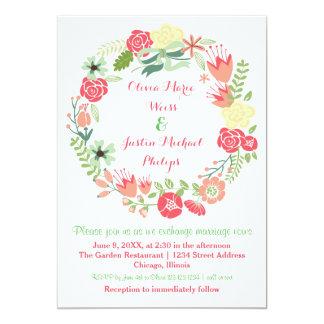 Pink Floral Wreath - Wedding Invitation