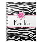 Pink floral zebra print notebook