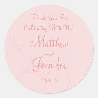 Pink Flourish Custom Wedding Favor Labels